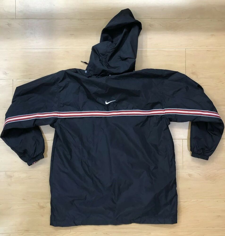746254d17b44 Details about Nike Mens Medium M Vintage Jacket Red Black White Button Down  Nylon Lined Hooded