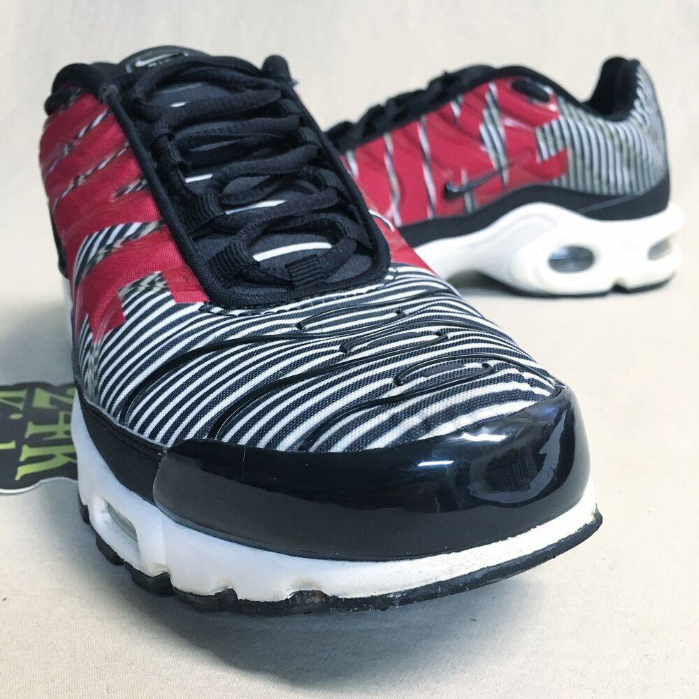 d3411362ed902b Details about Nike Air Max Plus Tn Striped Sz 8 White Black Red Olive 97 98  Black Blue Camo DB