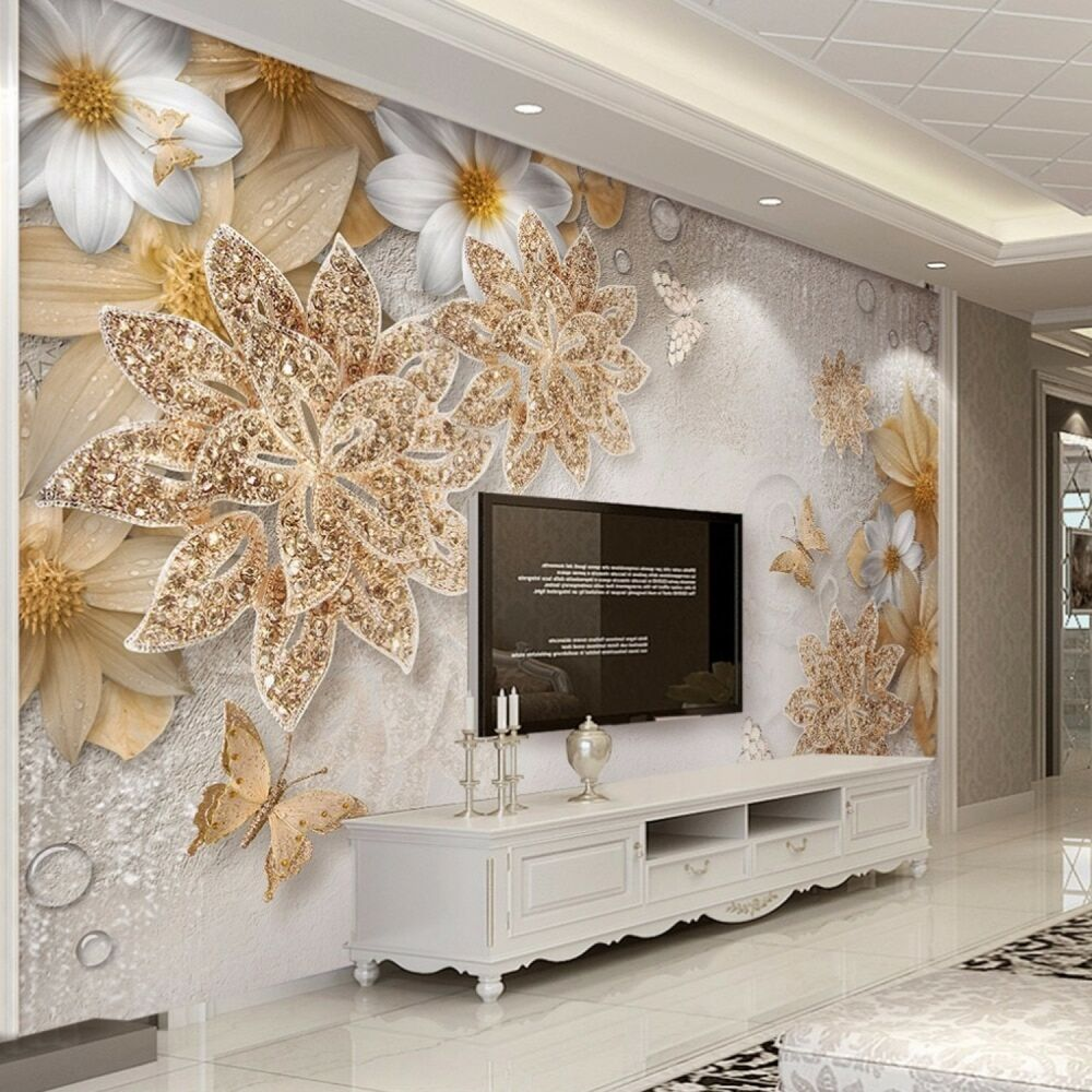 Details About Home Mural Wallpaper For Bedroom Livingroom Wall Luxury Gold Flower Erfly