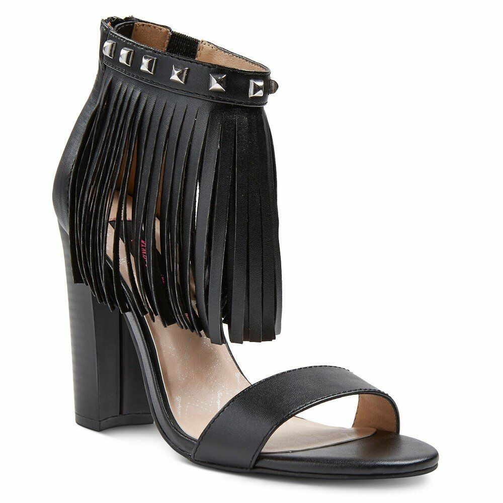 2c52ab1be714 Details about Betseyville Women s Slide Sexy Studs Fringe detail Ankle  Strap Sandals Black 8.5