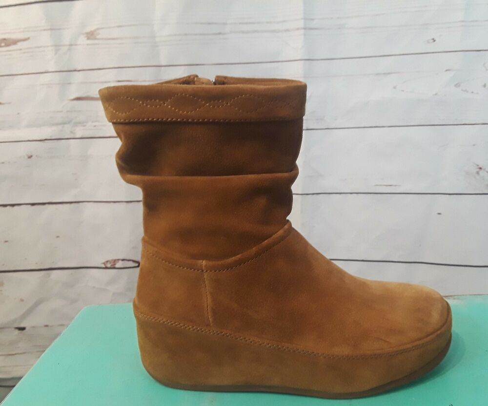 86a57fa94d9 Details about Fitflop Womens Crush Tan Suede Casual Wedge Boot Shoe Amputee  5 M Right shoe