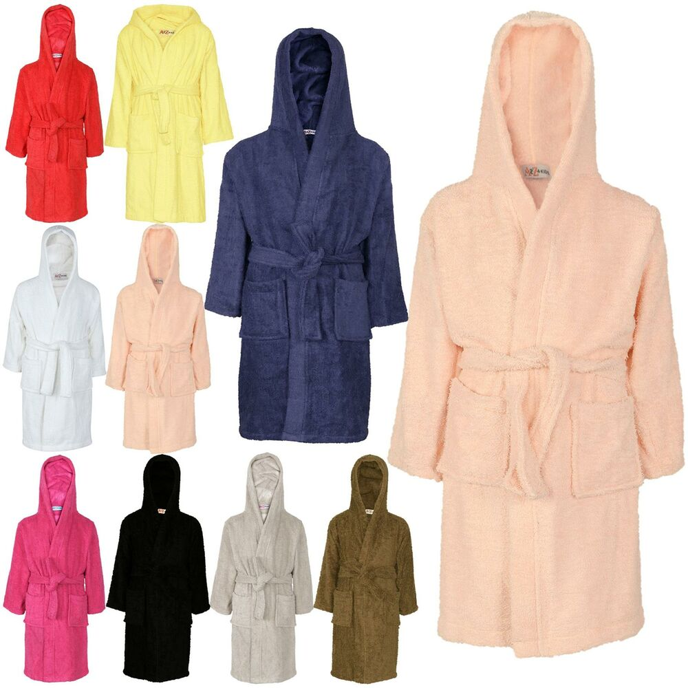 Details about Kids Girls Boys 100% Cotton Soft Terry Hooded Bathrobe Luxury Dressing  Gown 3-13 8fec8a15c