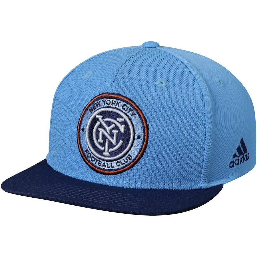 new styles 08765 b33e7 Details about New York City FC Adidas MLS Snapback Adjustable Hat - Light  Blue Navy