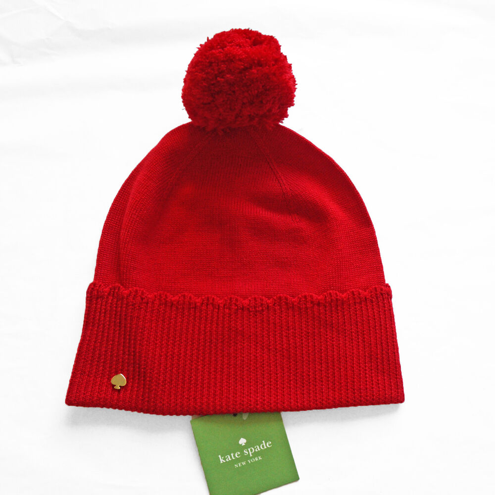 36c82d606afbe Details about Kate Spade Scalloped Merino Wool Beanie Hat with Pom  KS1001074 Charm Red NWT