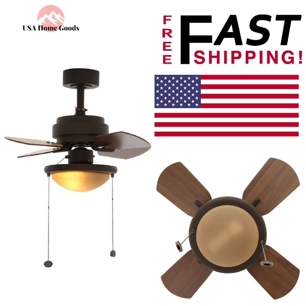 Bronze Ceiling Fan W/ Light Kit 24 in. 3-Speed Pull Chain For Small ...