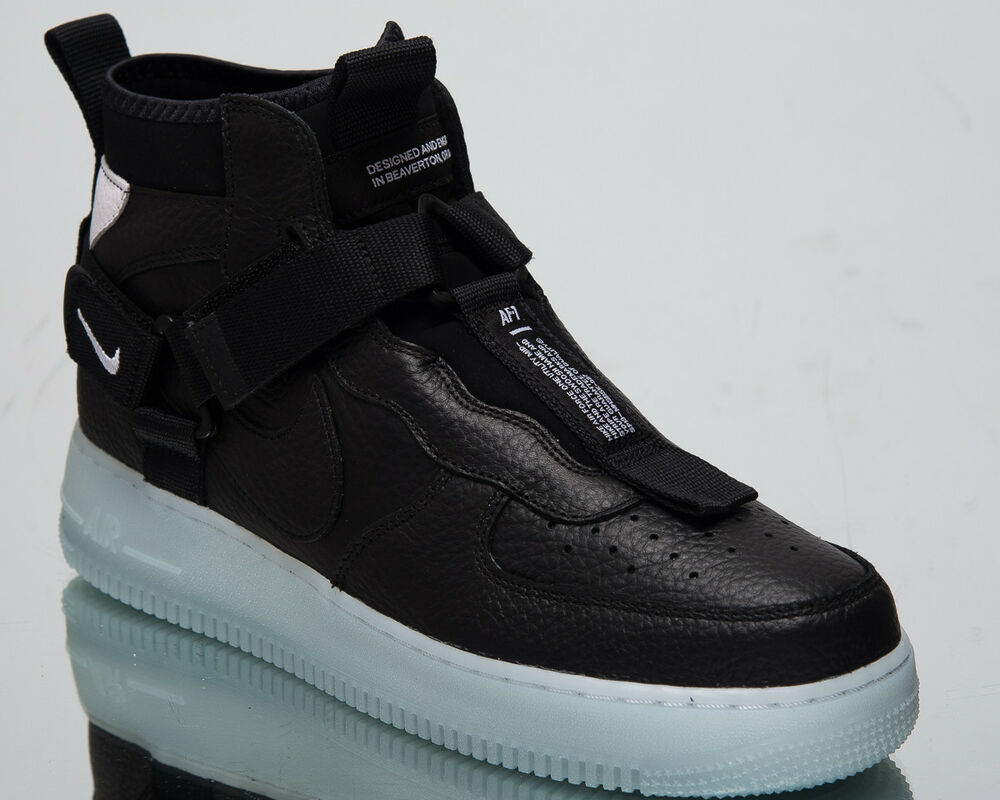 size 40 575d3 c8d8c Details about Nike Air Force 1 Utility Mid Men s New Black Half Blue Casual  Shoes AQ9758-001