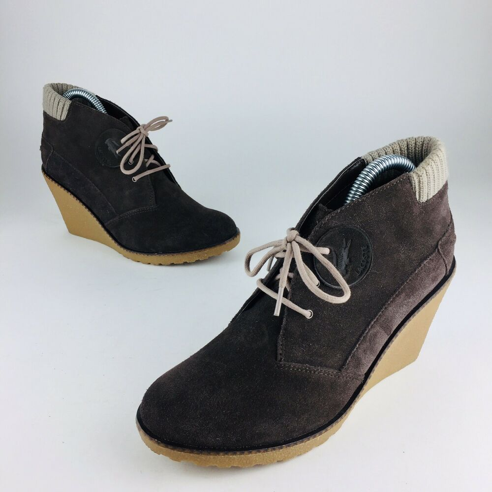 988841ea0ce7 Details about Lacoste Wedge Booties Ankle Boots Heels Shoes Dark Brown  Suede Women s Sz 7.5