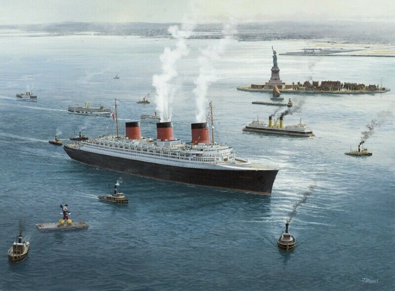Ss Normandie French Line Cgt Ocean Liner New York Painting