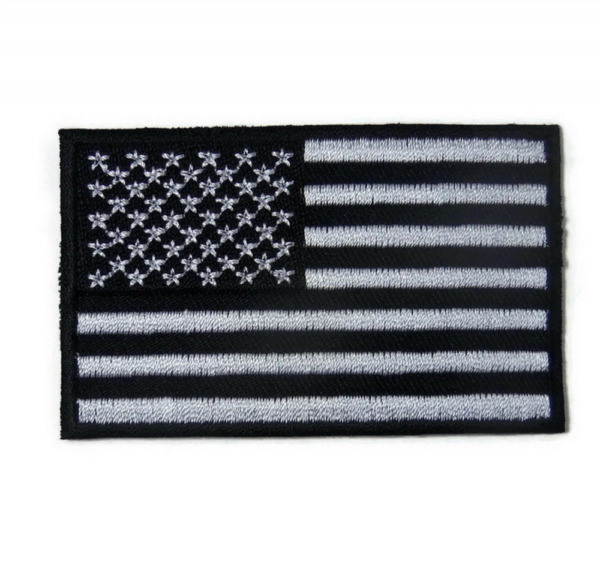 USA Flag American Flag Black White Embroidered Iron On 3