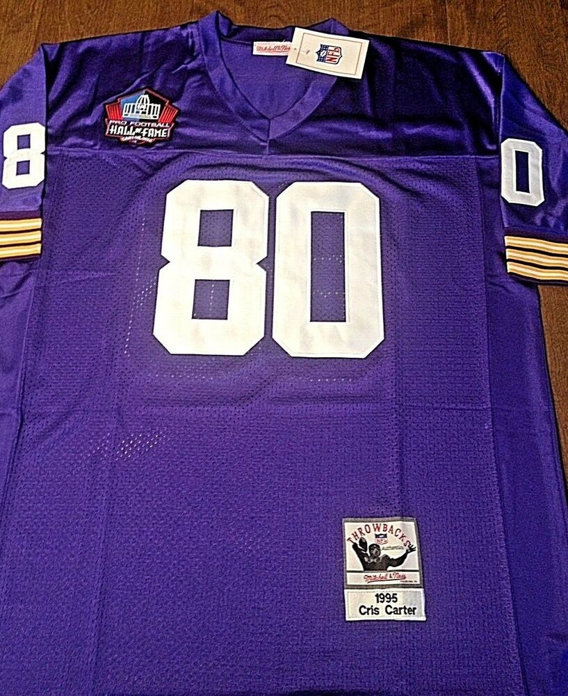 93fe1a4f8 MINNESOTA VIKINGS  80 CHRIS CARTER HOME JERSEY SIZE LARGE WITH HOF PATCH