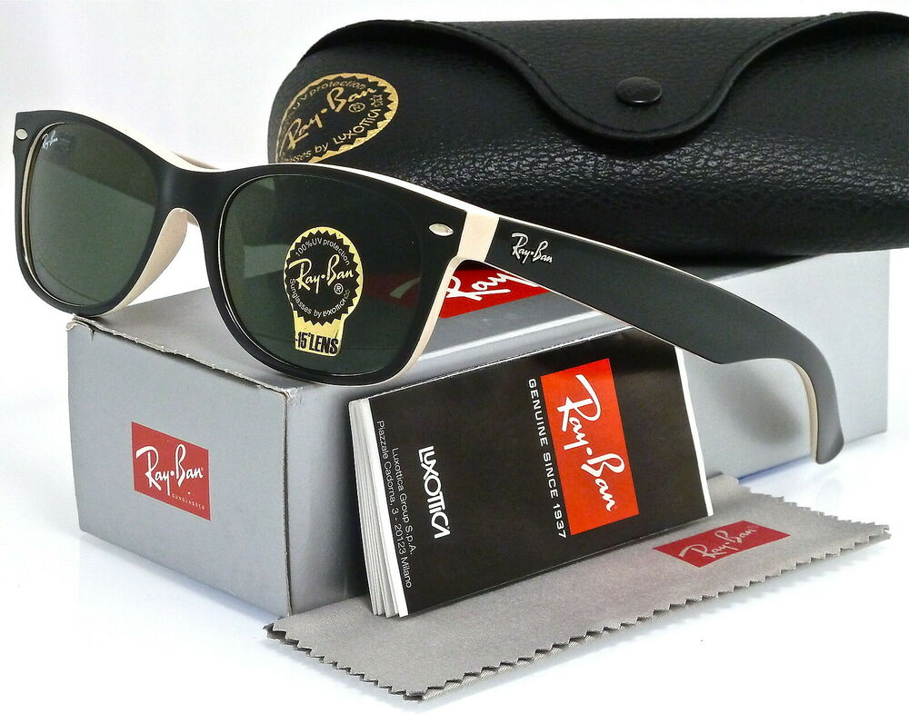81639ff7221 Details about RAY-BAN NEW WAYFARER RB2132 875 52MM BLACK-BEIGE   GREEN  CLASSIC G-15