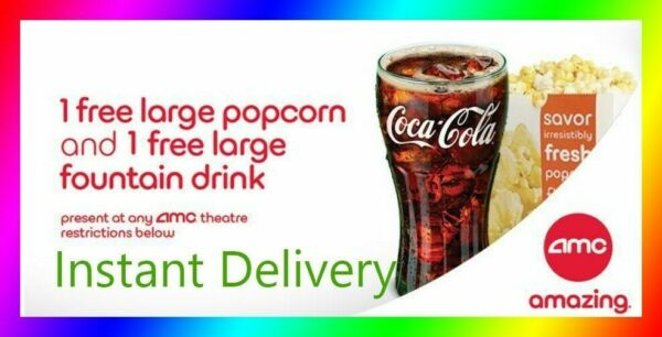 AMC Theater Large Popcorn & Large Drink || Super Fast E-Delivery - Exp 6/30/20
