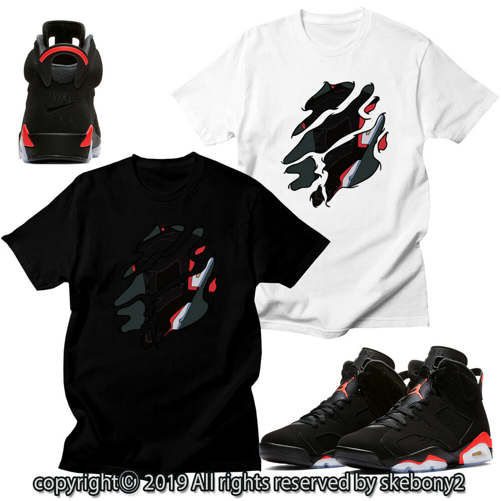 abcd847383d9 Details about CUSTOM T SHIRT MATCHING STYLE OF Air Jordan 6 Black Infrared  JD 6-13-3