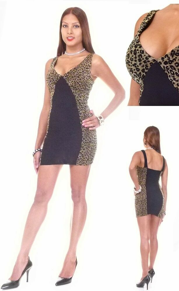 7c2993ad79 Details about Deep Vee Lurex Black   Animal Print Club Dress By Symphony  (Small)