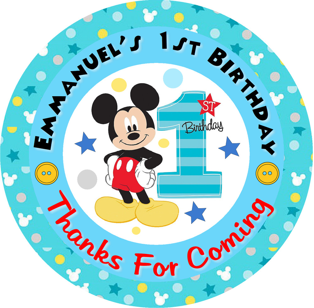 Details about mickey mouse first 1st birthday custom blue party round stickers labels favors
