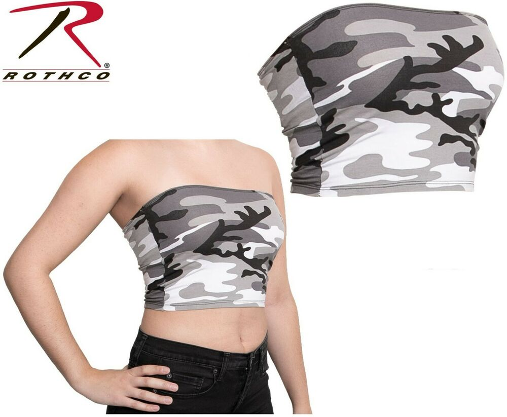 c0d54dd91a City Camouflage Tube Top Strapless Bandeau Crop Tops Bra Breast Wrap Cami  1659