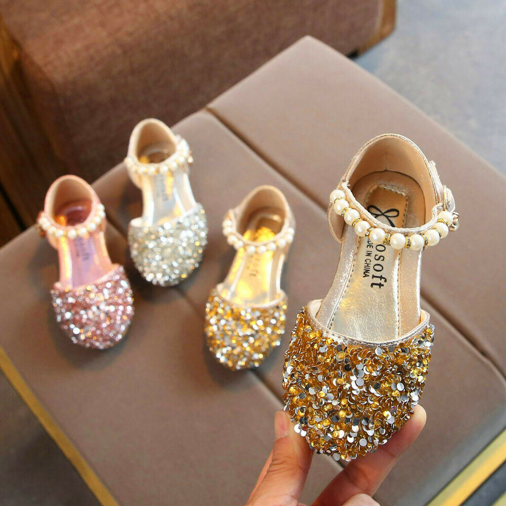 dfc55906d997 Details about Toddler Infant Kids Baby Girls Pearl Bling Sequins Single  Princess Shoes Sandals