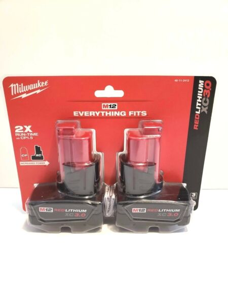 MILWAUKEE 48-11-2412 M12 XC High Capacity Red Lithium Battery XC 3.0 2-PACK