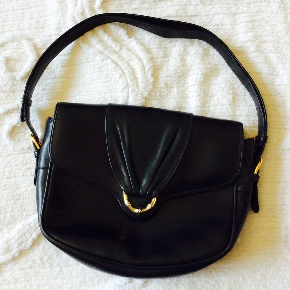 8ae29d929a Details about GUCCI Black Bag Italy Made Leather Suede Lining Italian  Designer Vintage Handbag