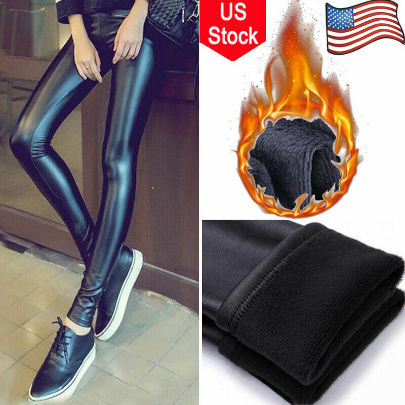 f0b4e11d551c2 Details about Women Thick Warm Faux Leather Skinny Stretchy Pants Leggings  Pencil Trousers Hot