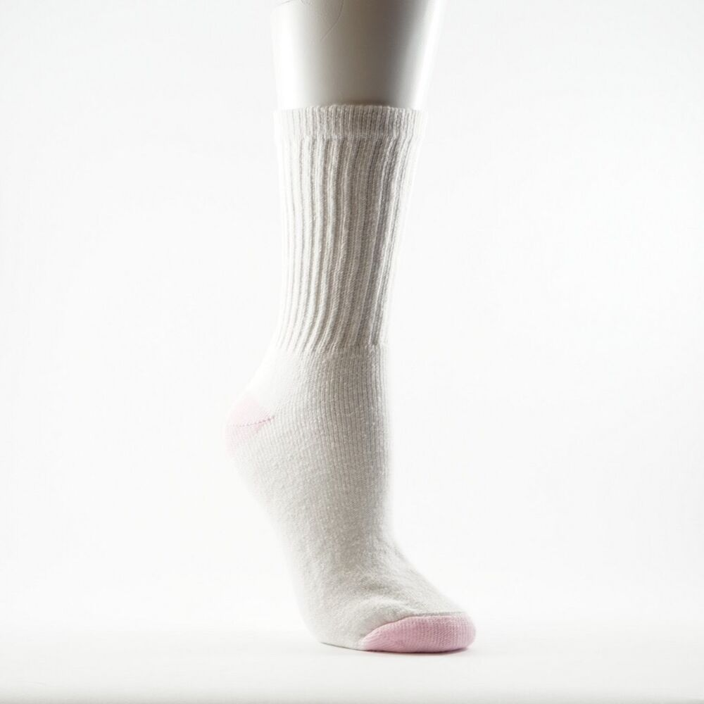 293baef7c2354 Details about New Women's Crew Cut White, Pink Heel/Toe 91% Cotton Socks 5  Pairs Size 9-11