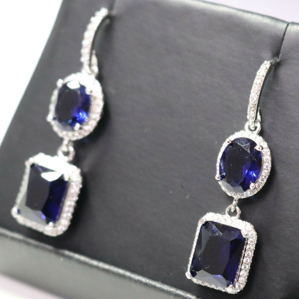 3 Ct Blue Sapphire Dangle Earrings 14K Gold Plated Wedding ...
