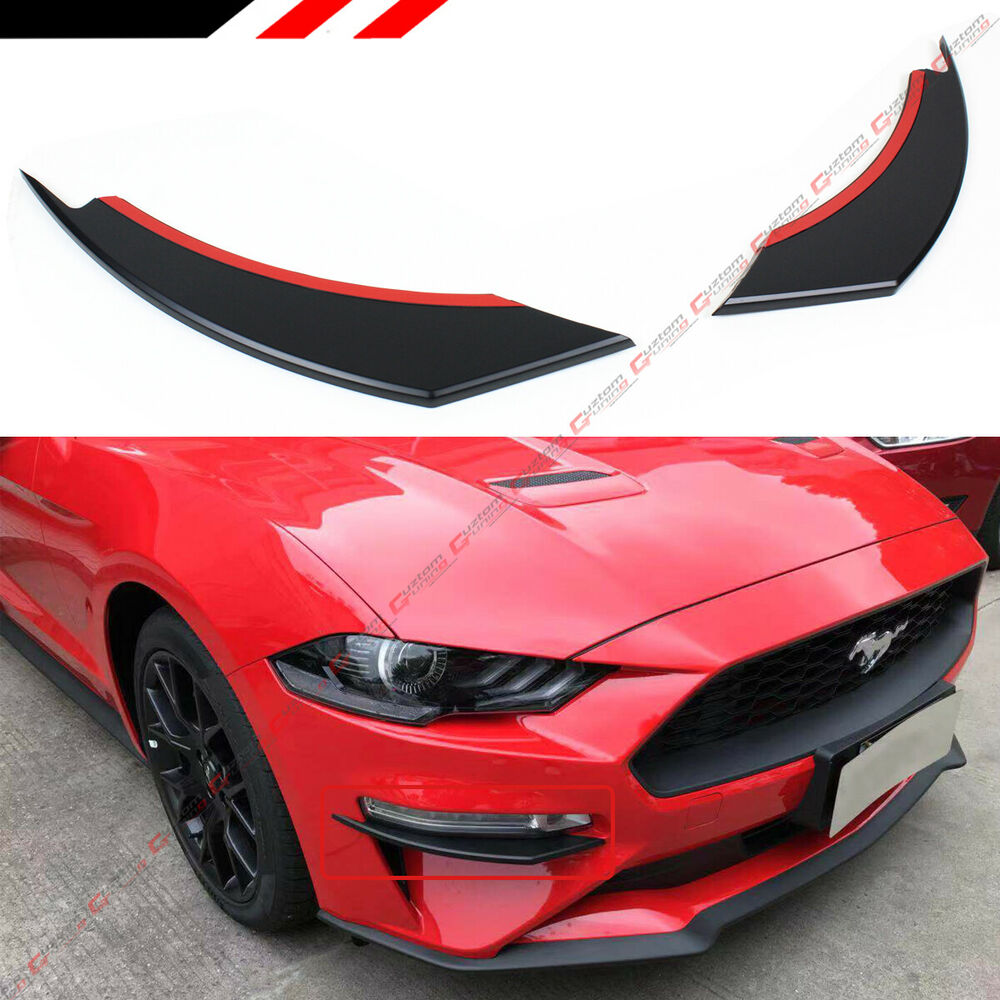 Details about for 2018 19 ford mustang black front bumper vent winglets fog light canard trim