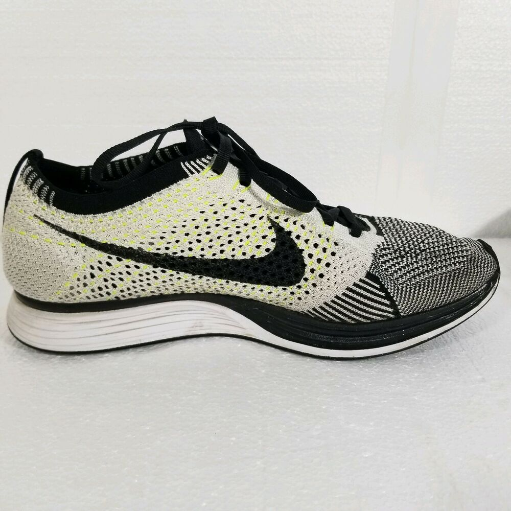 88f0118722b2 Details about Nike Flyknit Racer Oreo Volt Sz 7.5 Mens   Size 9.5 Womens  Unisex 526628-011