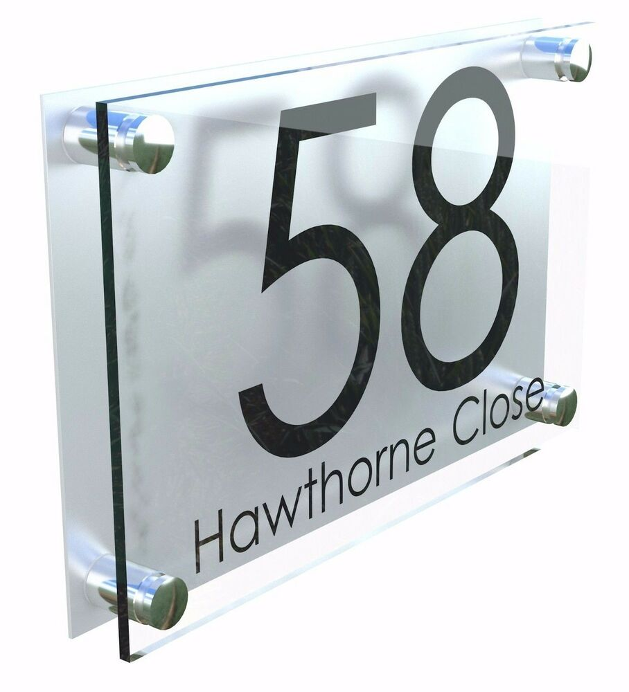 Details about modern personalised acrylic house sign number plaque with fixings extra large 1c