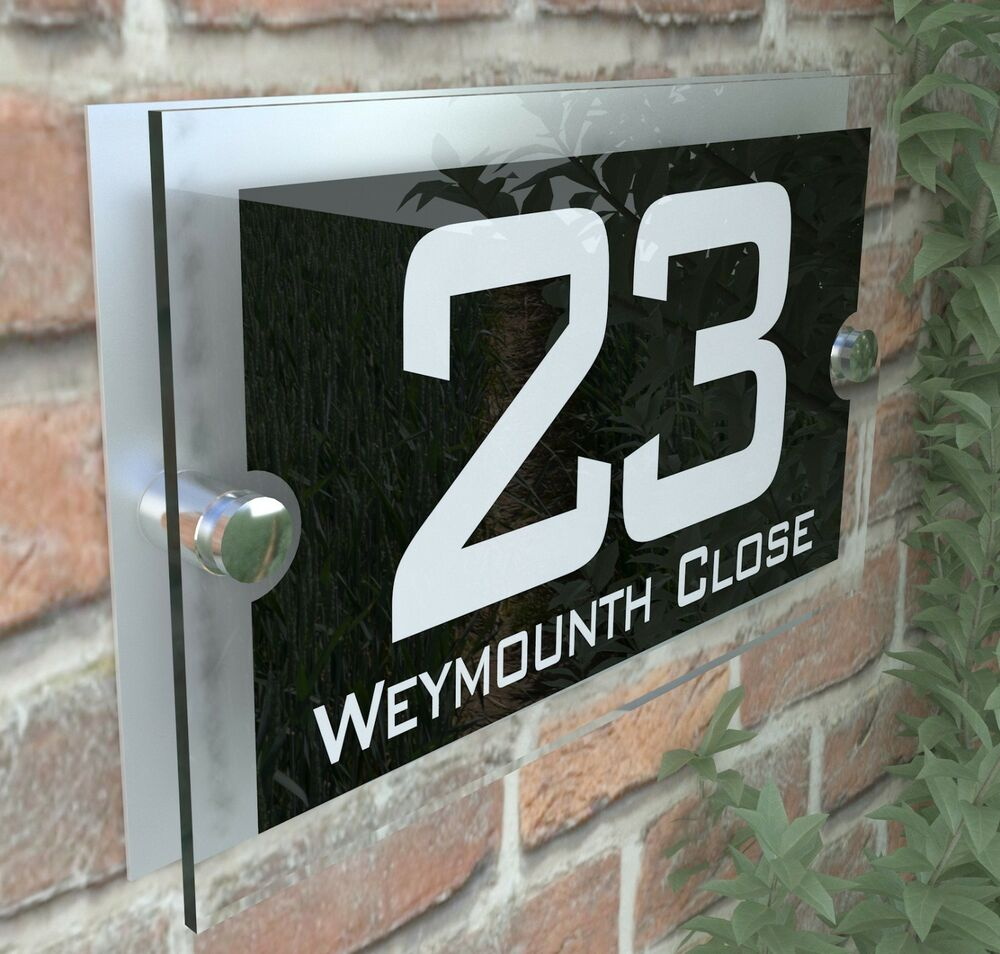 Details about modern house sign plaques door number acrylic personalised name plate par10wb
