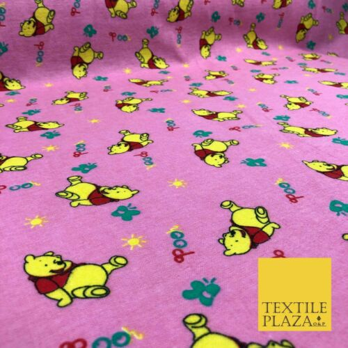 Pink Winnie the Pooh Winceyette Soft Brushed Cotton Print Fabric Kids 1249