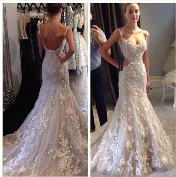 903b51555b2 Details about Spaghetti Mermaid Appliques Lace Wedding Dress Custom Backless  Bridal Gown Plus
