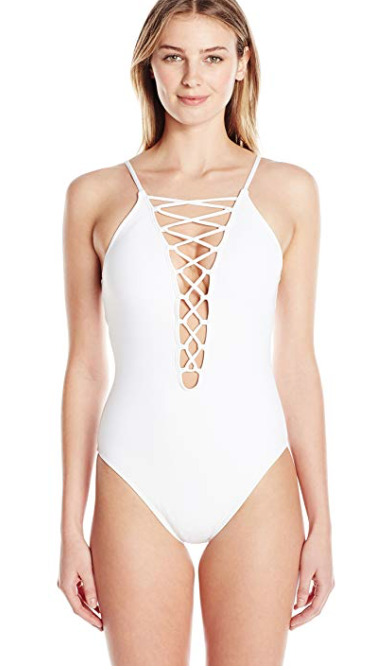 3833f9e739e Details about La Blanca Island Goddess High Neck Lace Front One Piece  Swimsuit 10 WHT NWT
