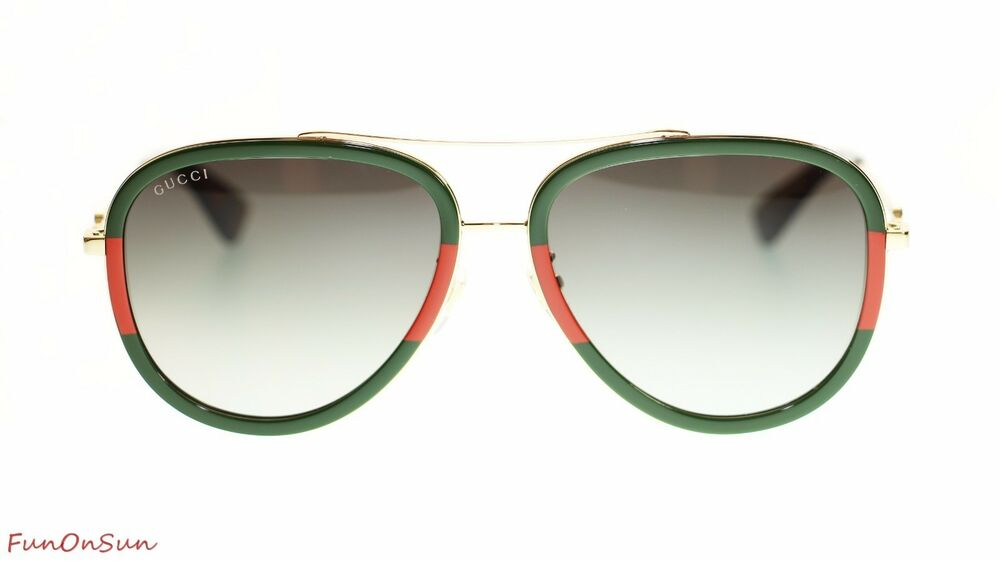 1fb2be0df0 Details about Gucci Women Aviator Sunglasses GG0062S 003 Gold Green  Gradient Lens 57mm