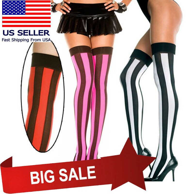 fb204d4bae0e1 Details about Black Vertical Wide Striped Thigh High Stockings Halloween  Pirate Witch Costume