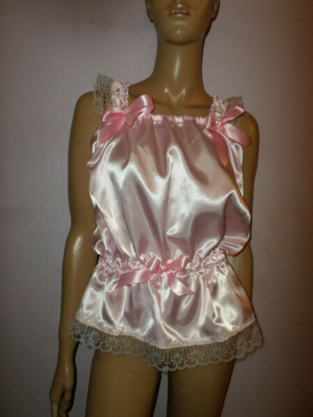 PINK SATIN CAMSOLE TOP  LACE TRIM & BOWS 35-50