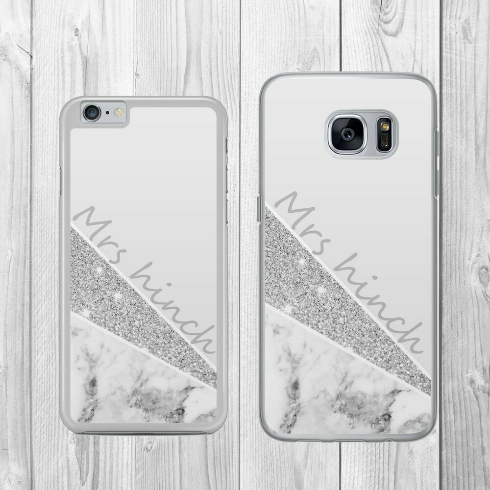 newest 9b6d3 5cdbb PERSONALISED GREY GLITTER MARBLE MONOGRAM Phone Case Cover for iPhone  Samsung | eBay