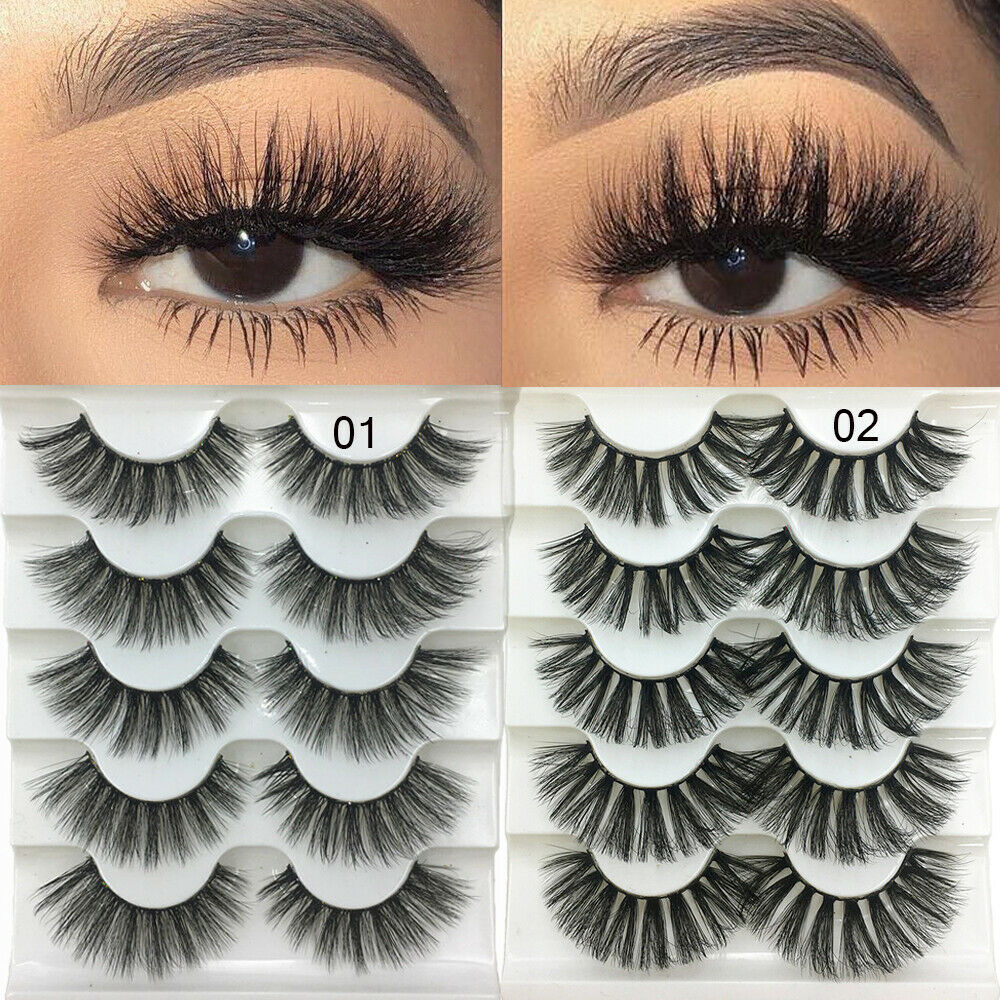579c07a74a9 Details about SKONHED 5 Pairs 3D Mink Hair False Eyelashes Fluffy Wispy Long  Thick Lashes New