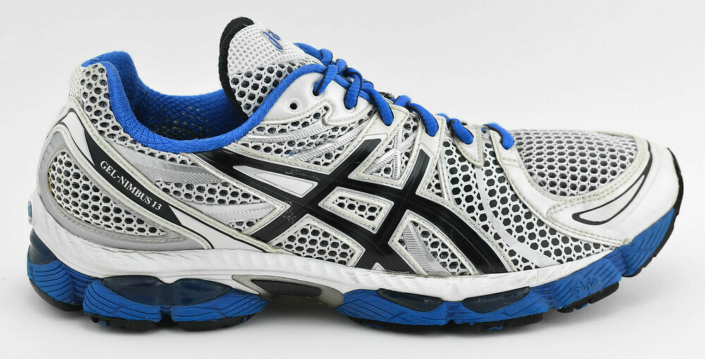 1e13bb08a4 MENS ASICS GEL NIMBUS 13 RUNNING SHOES SIZE 11 US 45 EU WHITE BLUE BLACK  T142N | eBay