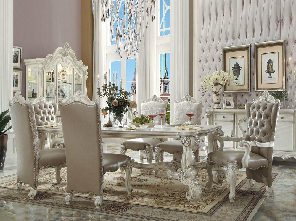 Details About Victoria 7 Pieces Traditional Ivory White Dining Room Furniture Table Chairs Set