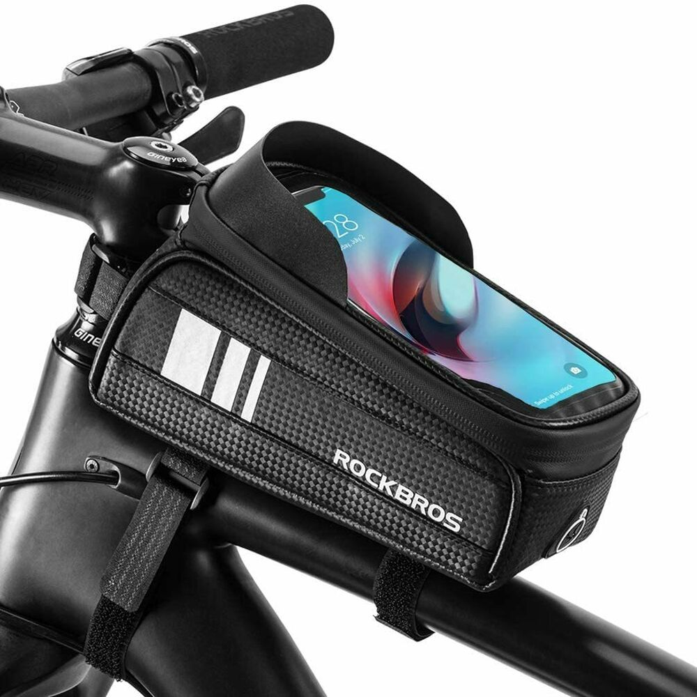 """RockBros Cycling Front Tube Frame Bag For 6.0/""""Touch Screen Phone Bag Black"""