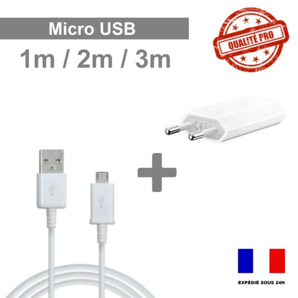 LOT Câble Micro USB-Samsung,Huawei,Sony,Wiko,Htc,Nokia 1M/2M/3M Chargeur Secteur