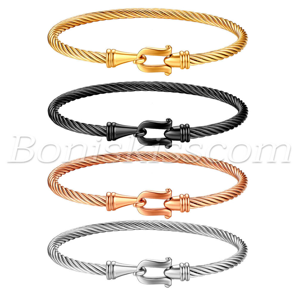 68ab1db075d Details about Women Stylish Stainless Steel Cable Wire Twisted Hook Clasp  Cuff Bangle Bracelet