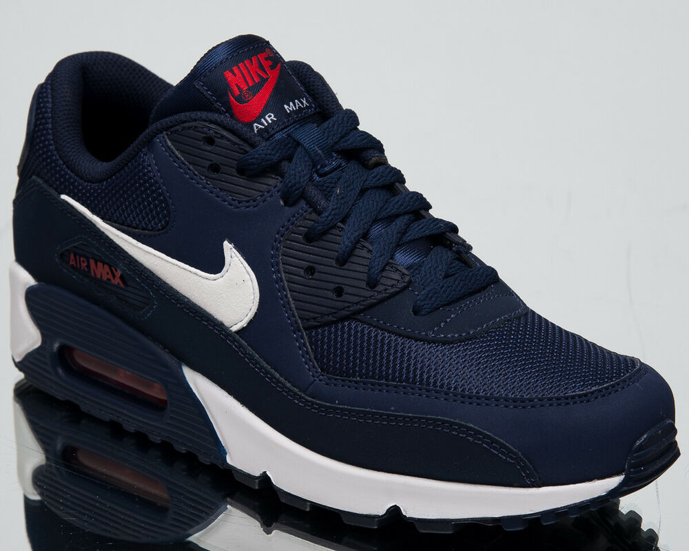 best service ade40 3cc8a Details about Nike Air Max 90 Essential Men s New Navy White Lifestyle  Sneakers AJ1285-403