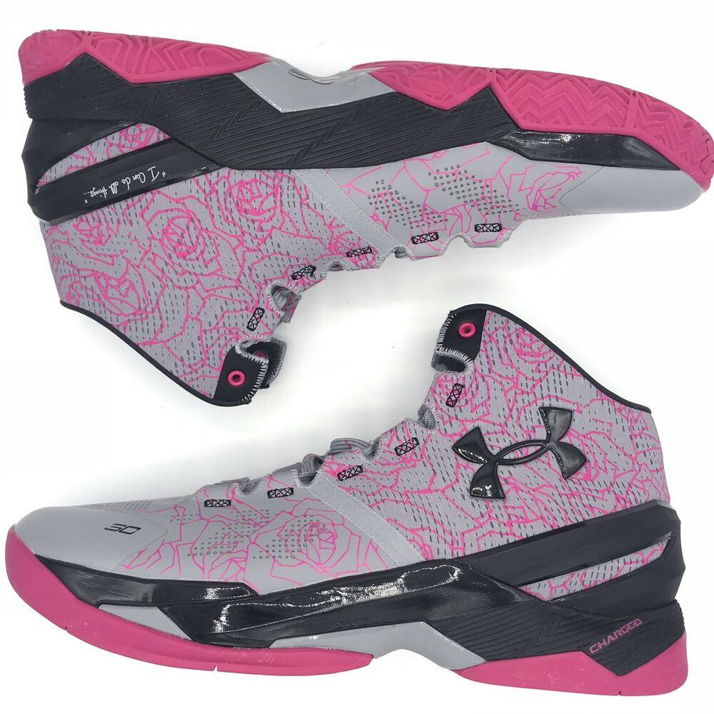 53648f918df3 Details about Under Armor Curry 2 Mother s Day 1259007-037 Gray Pink Black  Size 11