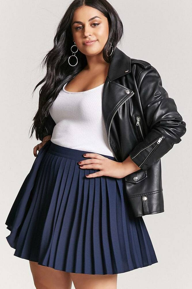 795fdb313d Details about Forever 21+ Plus Size Navy Accordion Pleated Mini Skirt 0X