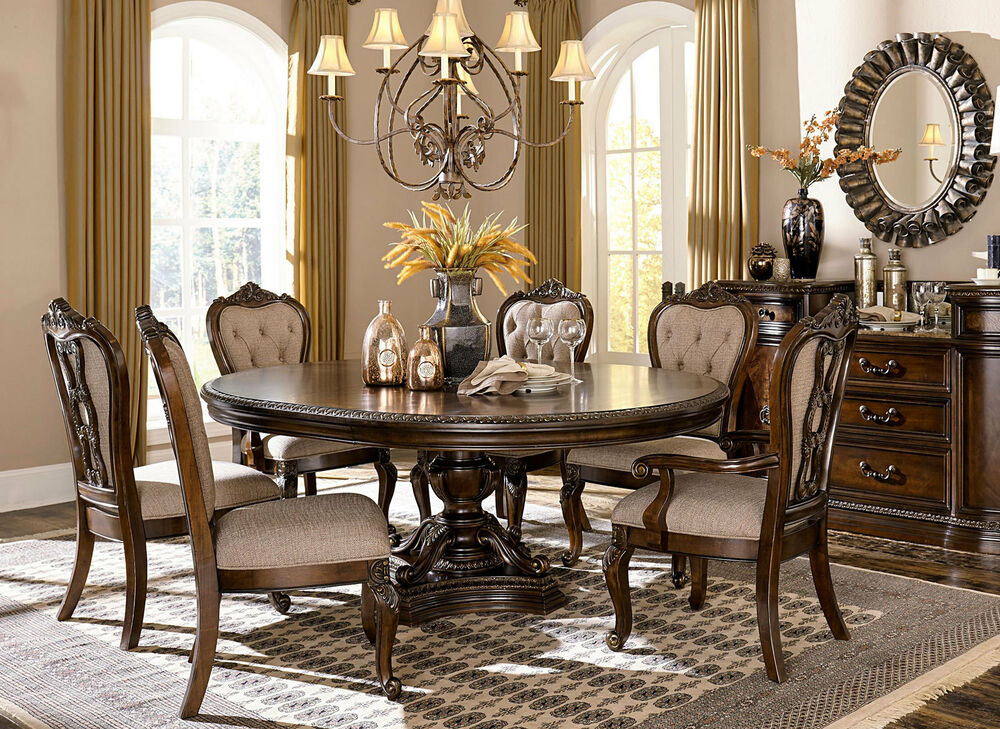FLORENCE 7 piece Old World Brown Wood Formal Dining Room ...