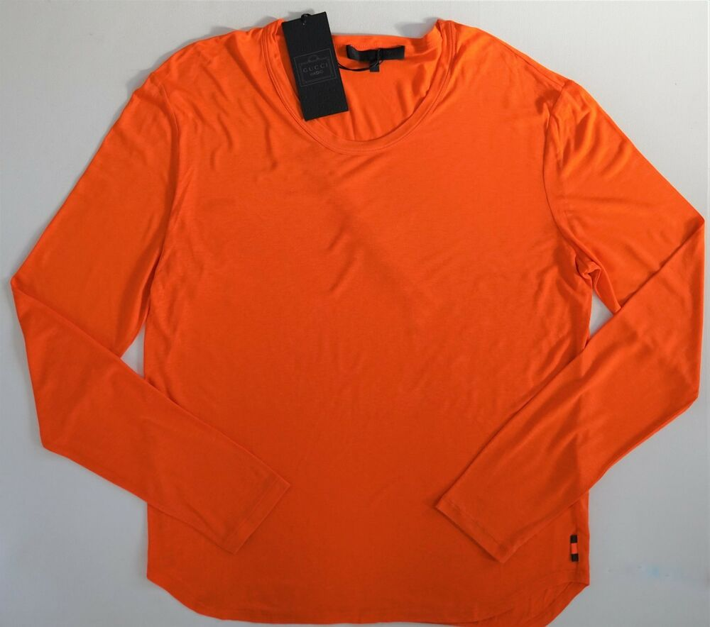 9beee20181b Details about NWT Authentic GUCCI VIAGGIO Orange Viscose Jersey Web Detail  SLIM FIT T-Shirt L