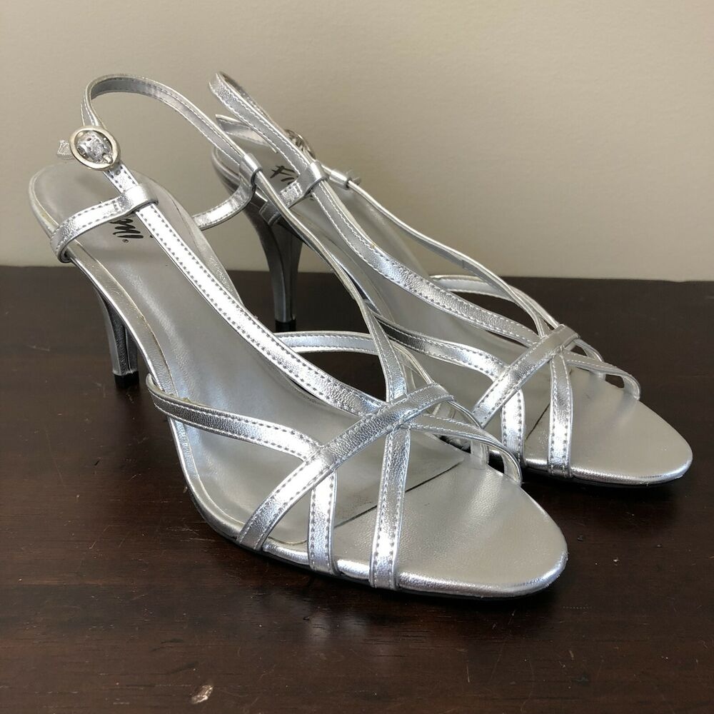 e4bb282c5 Details about Fioni Night Silver Klaire Strappy Heels Pumps Ankle Strap  High Heel Size 8