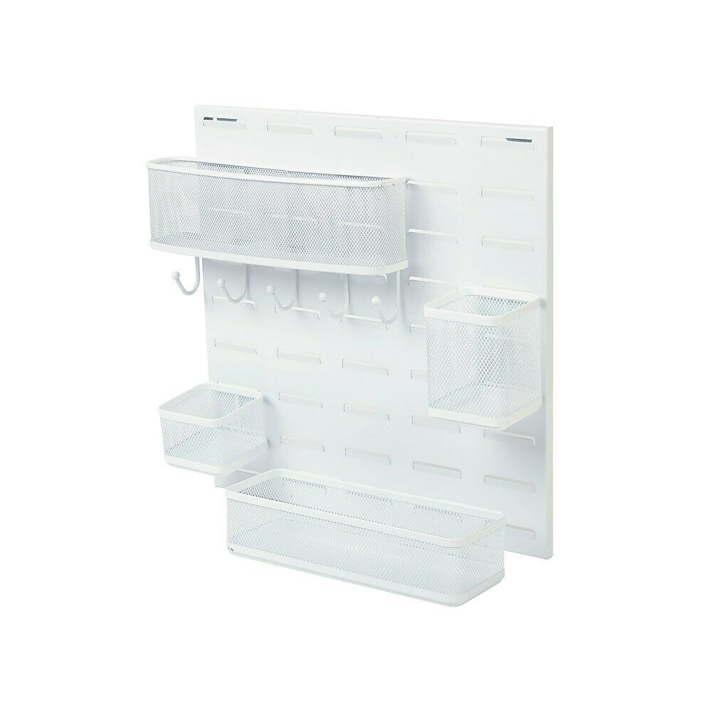 Staples Desk Organizer Kit Hanging White Mesh 2030223